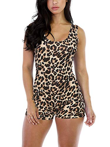 Alaroo Sexy Sleeveless Tank Tops Short Romper Leopard Print Sports Jumpsuit Bodysuit One Piece Short Catsuit M