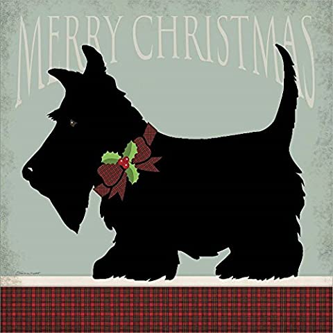 Scottie Merry Christmas by Stephanie Marrott Double Sided Laminate, 8 x 8 inches - Scottie Dog Art