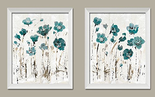 Gango Home Décor Beautiful Teal and Brown Watercolor-Style Floral Print Set by Lisa Audit; Two 11x14in White Framed Prints; Ready to hang!