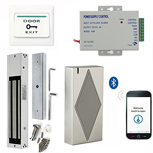 Bluetooth Smart Security Access Control Kits use mobile phone to open door +Magnetic Lock +110-240V Power Supply +Push Exit Button by MENGQI-CONTROL