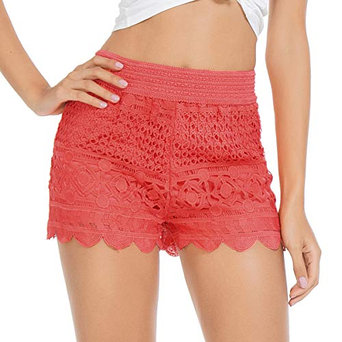 JTANIB Women's Lace Shorts, Fitted Scallop Hem Crochet Casual Summer Shorts Coral Red XL ()