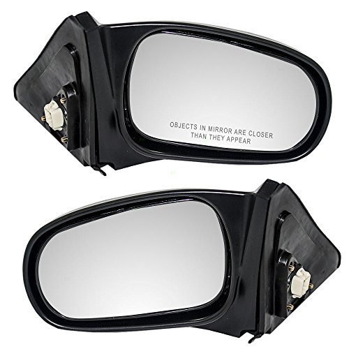 Pair Set Power Side View Mirrors Textured Replacement for Honda Civic Coupe 76250-S02-A15 76200-S02-A15 ()