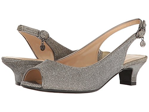 J. Renee Women's Jenvey Low Heel Slingback,Pewter Glitter Fabric,US 8.5 M