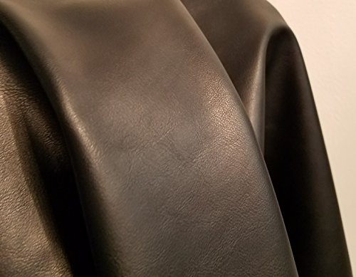 (Black Matte Fullgrain Look Faux Leather Synthetic Pleather 0.9 mm 1 Yard 52 inch Wide x 36 inch Long Soft Smooth Vinyl Upholstery (Black Matte) )