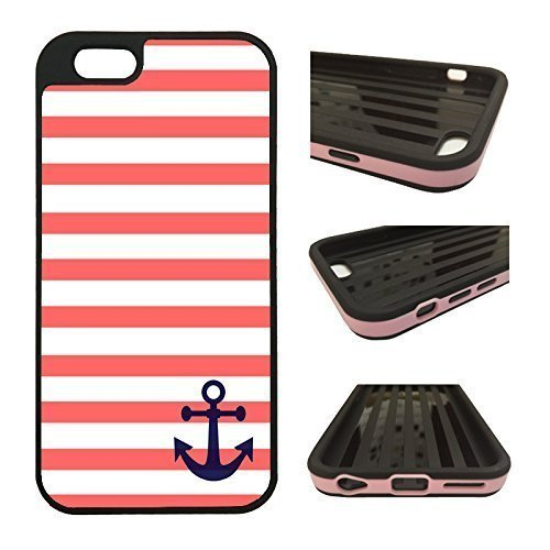 (CorpCase - Hybrid ULTRA Case For iPhone 6 / 6S - Coral And White Stripes Blue Anchor Sailor Sea Life/ Protective iPhone 6 With Great Style - Features Unique 2-in-1 Protection with TPU + Plastic.)