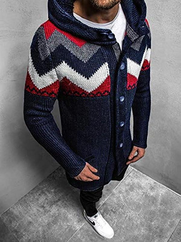 MOODOZ męski sweter długi sweter dziany sweter z kapturem sweter dziany sweter roboczy bluza MAD/02659Z: Odzież