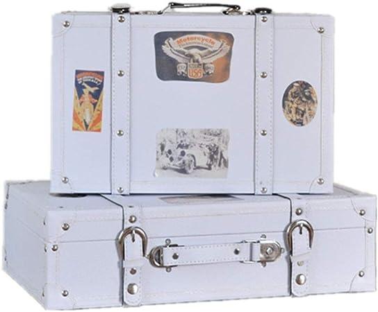 Maleta Vintage Conjunto de 2 Vintage Treasure Chest Blanca Caja de Almacenamiento Maleta de Equipaje, for la decoración casera Caja de almacenaje (Color : White, Size : Large+Small): Amazon.es: Hogar