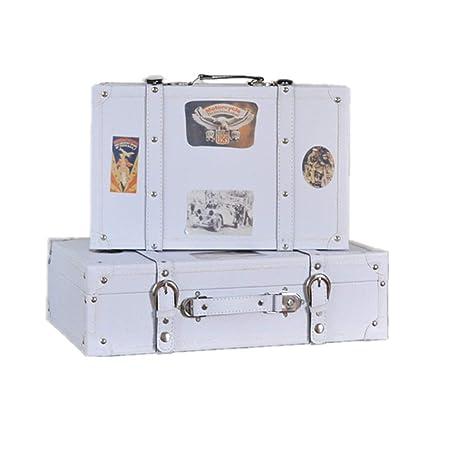 Maleta decorativa Conjunto de 2 almacenaje blanco de la vendimia en el pecho caja del tesoro de la maleta de equipaje for la decoración casera Muestra Crafts Photoshoots (blanco) para dormitorio, sala: