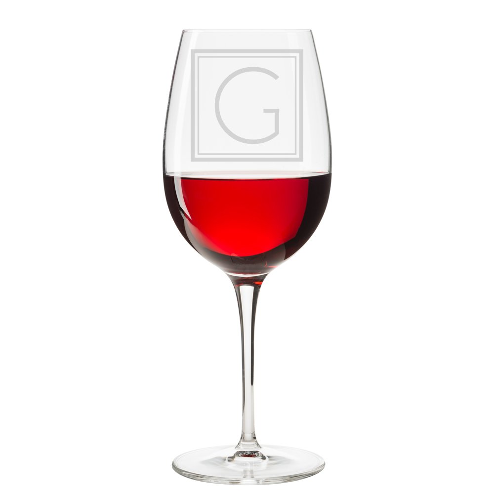 Initial Square Engraved 18 oz Wine Glass, Letter G - 4pcs by Abby Smith