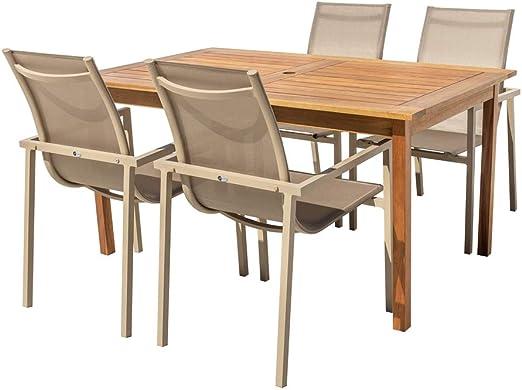 Conjunto de Mesa de Comedor y 4 sillas marrón de Madera y Aluminio - LOLAhome: Amazon.es: Jardín