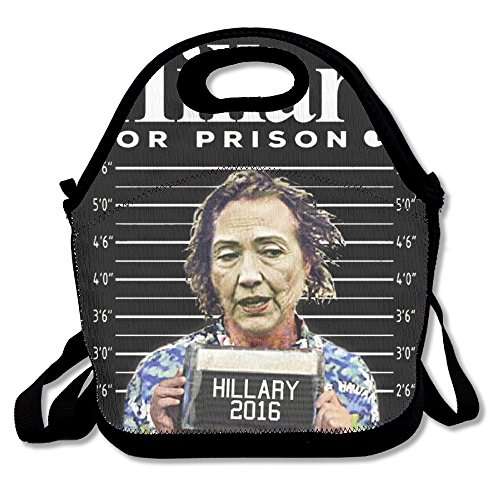 [Black Hillary For Prison Unisex Lunch Bag For Woman Man Kid] (Prison Halloween Costumes)