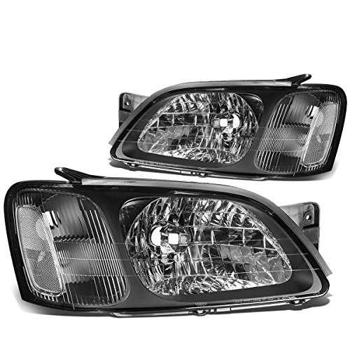 DNA Motoring Clear HL-OH-085-BK-CL1 Black Housing Headlights [00-04 Subaru Legacy GT] ()