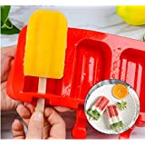 JoyGlobal Silicone Rectangle Oval Chocolate Lollipop Ice Cream Popsicle Cakelike Mould, Red