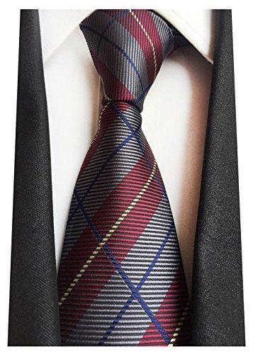 Plaid Striped Tie - MENDENG New Classic Plaids Check Baby Blue Jacquard Woven Silk Men's Tie Necktie