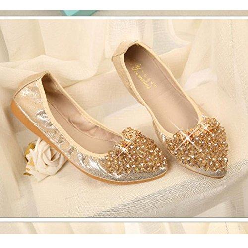 Meeshine Womens Wedding Flats Rhinestone Slip On Foldable Ballet Shoes Gold-03 3AMOI