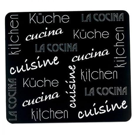 Compra Wenko 2712985500 Placa multiusos de cocina internacional para vitrocerámica, tabla de cortar, vidrio templado, Negra, 56 x 50 x 0, 5 cm en Amazon.es