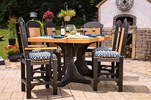 (Furniture Barn USA Outdoor 4 ft x 6 ft Rectangular Table w/ 2 Captain Chairs and 4 Regular Chairs - Counter Height - Cedar and Black Poly Lumber - Recycled Plastic)