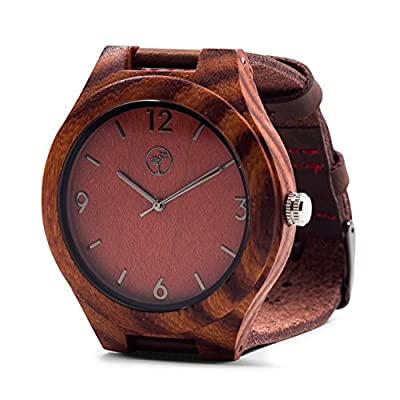 Wooden Watches for Men: Dark Sandalwood Bamboo Watch w/ Wood Case, Expresso Brown Genuine Cowhide Leather Strap, Japanese Analog Quartz Movement, Water Resistant, Unique, Minimalist & Eco Friendly