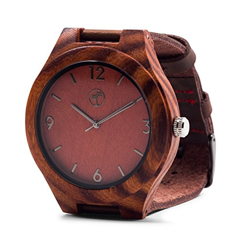 (Wooden Watches for Men: Dark Sandalwood Bamboo Watch w/ Wood Case, Expresso Brown Genuine Cowhide Leather Strap, Japanese Analog Quartz Movement, Water Resistant, Unique, Minimalist & Eco Friendly)