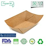 tray paper - Brown Kraft Paper Food Tray, Capacity of 1/2lb, Eco-friendly Kraft Food Trays USA Made, FDA Approved Recyclable & Biodegradable, Convenient for all Event: Party, Camping, Carnival, BBQ... (50pc)