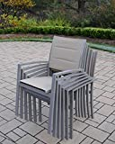 Oakland Living Padded Sling Aluminum Stackable Chairs, Champagne