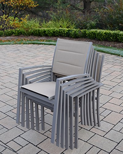 (Oakland Living Padded Sling Aluminum Stackable Chairs, Champagne )