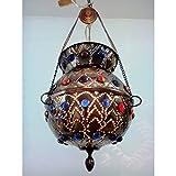 BR34Z Aladdin Arabian Egyptian Handmade Brass Hanging LampHEARTS PATTERN