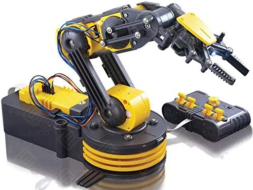 Elenco Teach Tech \u201cRobotic Arm Wire Controlled\u201d Robotic Arm Kit STEM Building Toys for Kids 12+