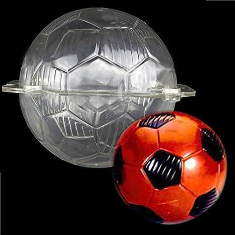 Plástico 3d de balón de fútbol forma policarbonato PC plástico Candy molde hielo Chocolate molde para gelatina: Amazon.es: Hogar