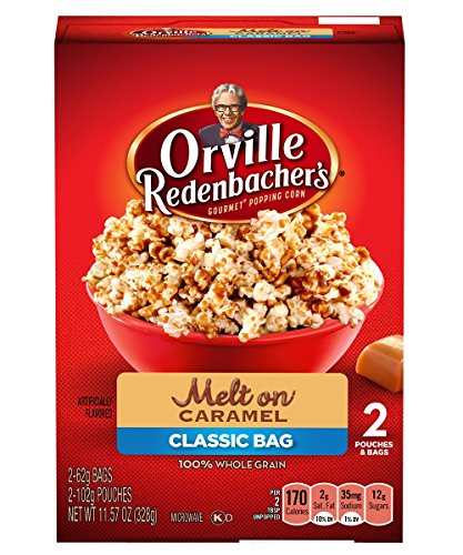 Orville Redenbacher's Popcorn, Melt-On Caramel, Classic Bag, 2-Count (Pack of (Caramel Popcorn Bag)