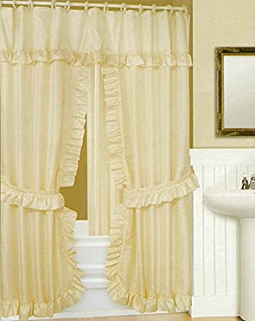 Perfect Double Swag Shower Curtain Liner And Rings, Beige Inside Double Swag Shower Curtain