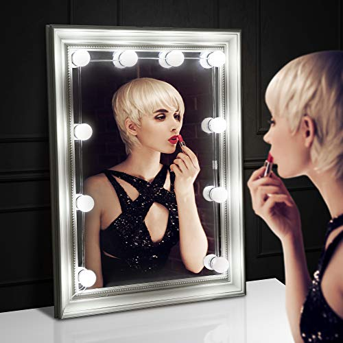 [New Vision] LED Vanity Mirror Lights Kit, SOAIY Waterproof Easy Installed Hollywood Style Vanity Lights, Wires Hidden Under the Bulbs, for Mirror, Makeup,Decoration and Soothing,UL Adapter, No Mirror by SOAIY