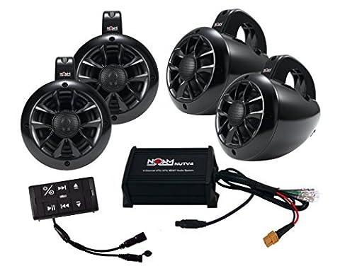NOAM NUTV4 QUAD - 4 Channels Marine Bluetooth ATV / Golf Cart / UTV Speakers Stereo System (Utv Crew Roof)