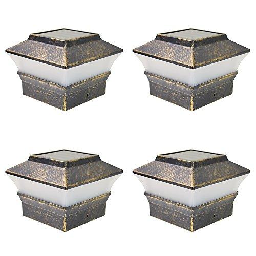 iGlow 4 Pack Vintage Bronze Outdoor 4 x 4 Solar LED Post Deck Cap Square Fence Light Landscape Lamp Lawn PVC Vinyl Wood