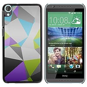 Caucho caso de Shell duro de la cubierta de accesorios de protección BY RAYDREAMMM - HTC Desire 820 - Patrón Polígono