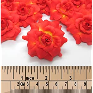 """(100) Silk Orange Roses Flower Head - 1.75"""" - Artificial Flowers Heads Fabric Floral Supplies Wholesale Lot for Wedding Flowers Accessories Make Bridal Hair Clips Headbands Dress 4"""