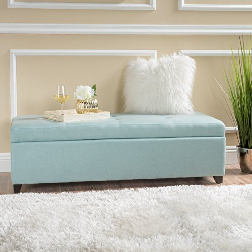 Garrtag Light Blue Fabric Storage Ottoman by GDF Studio