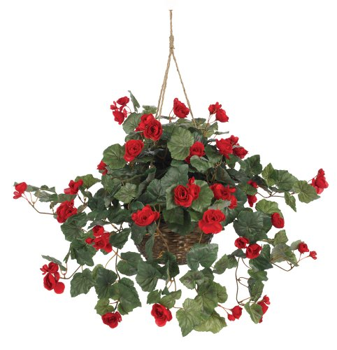 Nearly Natural 6616-RD Begonia Hanging Basket, Red (Best Hanging Flowers For Porch)