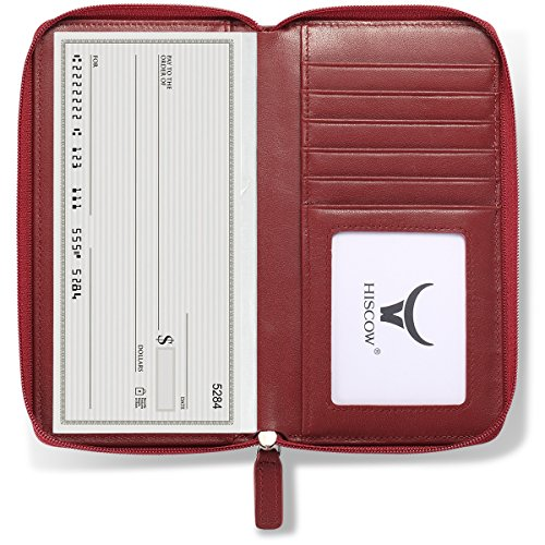 Holder Calfskin (HISCOW Zippered Checkbook Cover & Card Holder with Divider - Italian Calfskin (Wine Red))