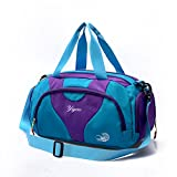 Hit Color Swim Bag Duffle Bag Travel Sports Gym Bag Waterproof with Dry Wet Area Shoes Compartment for Women Men (PURPLE BLUE)