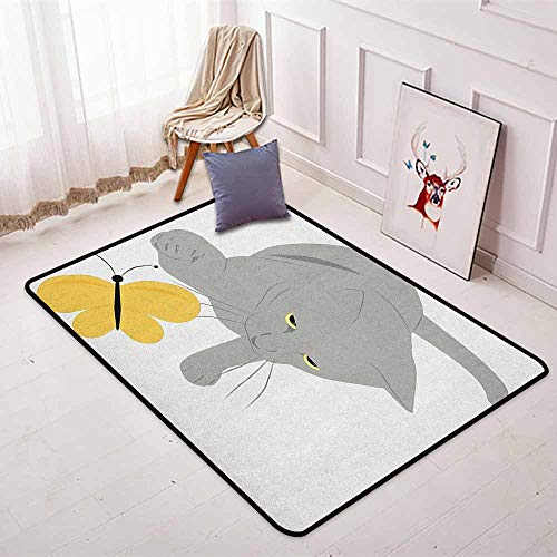 Grey and Yellow Non-Slip Absorbent Carpet Cat Pet Feline Best Friend Playing with Spring Butterfly Print for Floor Carpets W31.5 x L59 Inch Black Marigold and Grey