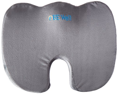 BE Well Seat Cushion - Premium Orthopedic Memory Foam (Gray) - Comfort Chair Pillow for Lower Back Pain, Coccyx, Tailbone, Lumbar Support, & Sciatica - By Brimma (Sears High Chairs)