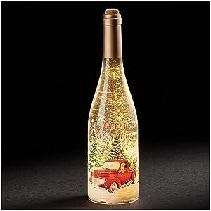 Roman 12-Inch LED Merry Christmas Wine Bottle with Truck Swirling Glitter Bottle