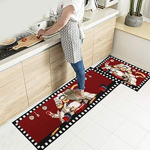 EGOBUY 2 Piece Non-Slip Kitchen Mat Rubber Backing Doormat Runner Rug Set (16x24