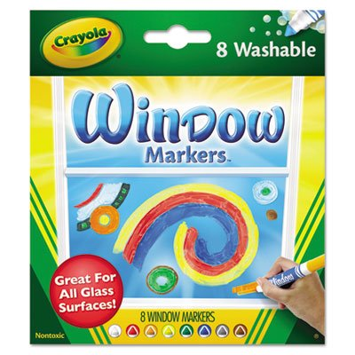 Washable Window FX Markers, Conical Tip, Assorted Colors, 8/Set, Sold as 8 Each