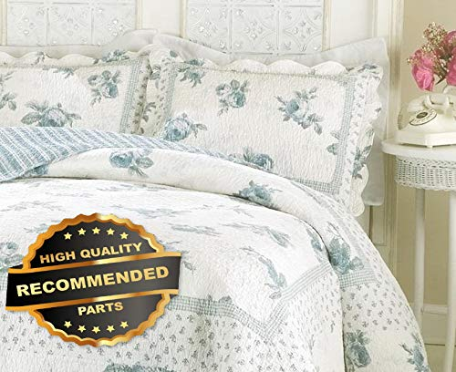 Werrox Blue Rose Blossom Twin Full Queen or King Quilt : Country White Floral Comforter Twin Size | Quilt Style QLTR-291267801