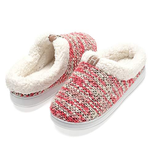 for Slippers Red Women Plush Skid Memory Fleece Wool Lined Non Cozy Like Foam AArdSw