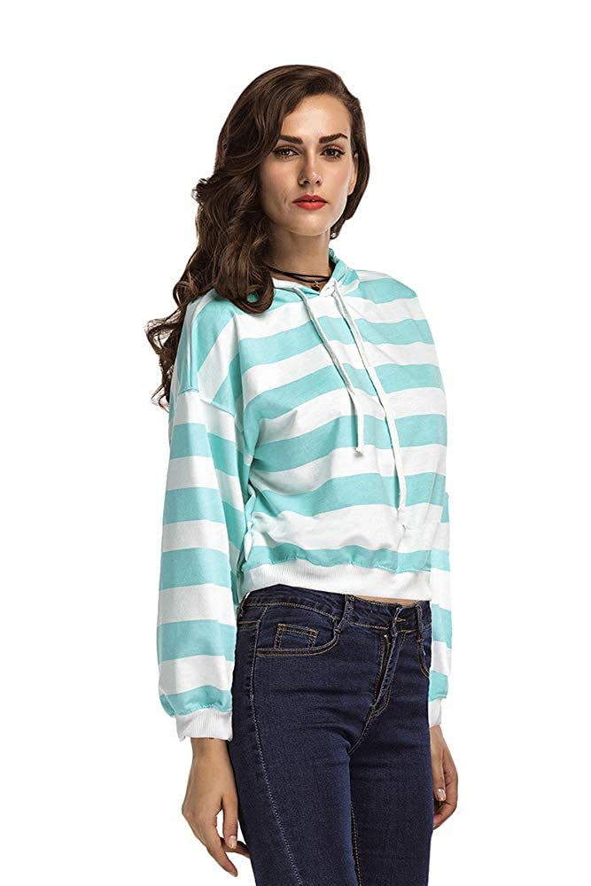 Weixiltc Women Casual Crew Neck Long Sleeves Stripes Lace-Up Coat Outerwear Hoodie