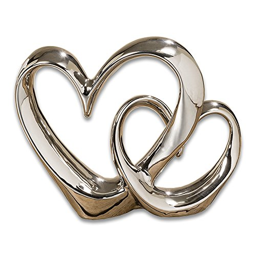 (WHW Whole House Worlds Eternity Double Heart Sculpture, Decorative Modern Art, Silver Glazed Stoneware, 10 1/4 Inches)