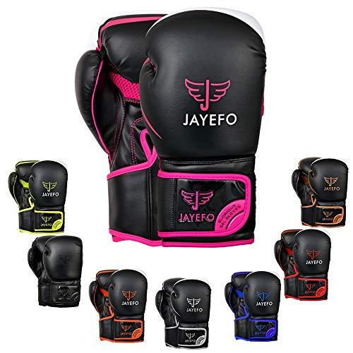 Jayefo Glorious Boxing Gloves (Black/Pink, 14 OZ)